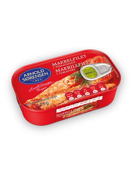 Mackerel fillets in tomato sauce Arnold Sorensen 125g, 45/box