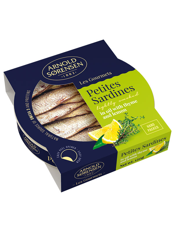 Petites Sardines in oil with thyme and lemon Arnold Sorensen, 120g, 42/box