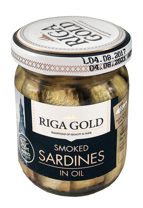 Smoked Sardines in oil Riga Gold, 100g, 60/box