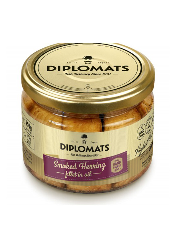 Smoked Herring Fillet in Oil Diplomats, 250g, 12/box