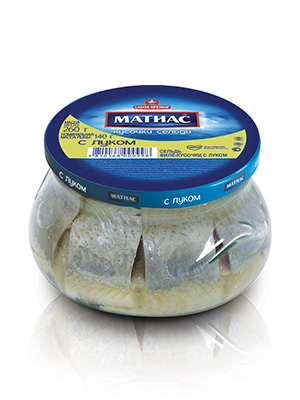 Herring fillets Matjes with onion, 260g, 6/carton