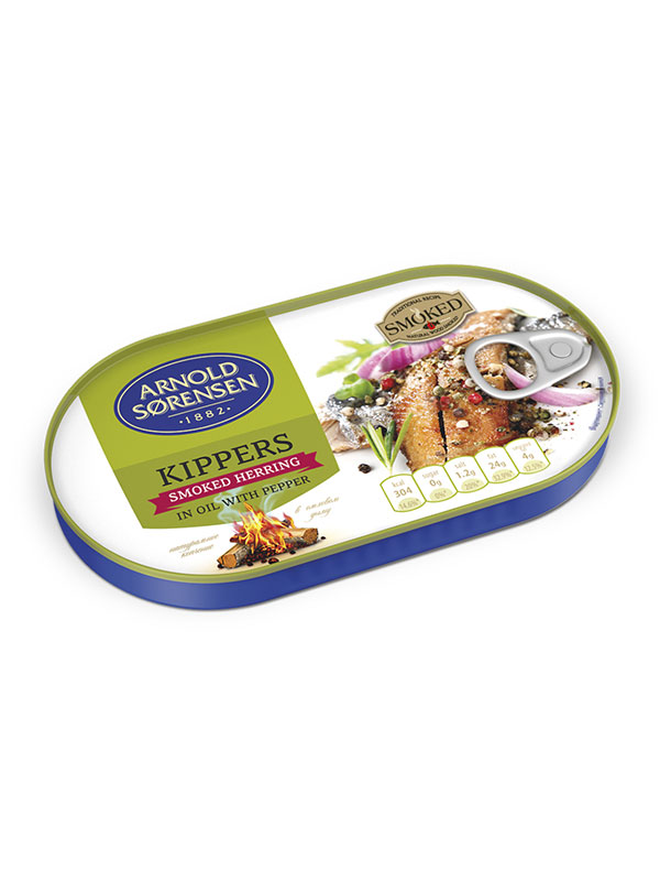 Kippers, smoked Herring in oil with pepper Arnold Sorensen, 110g/190g, 60/box