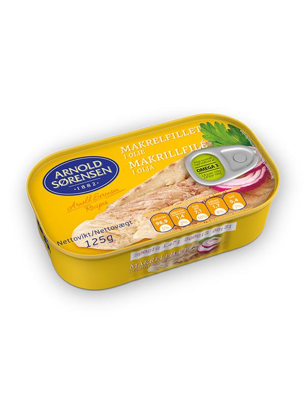 Mackerel, smoked fillets in oil Arnold Sorensen 125g, 45/box